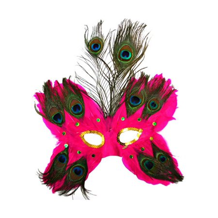Fuchsia Butterfly Peacock Masquerade Feather Mask - Peacock Masks