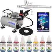 Master Airbrush System Kit with 8 Color Water-Based Face & Body Art Paint Set, Dual Fan Air Compressor, Gravity Airbrush