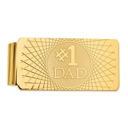 14K Yellow Gold #1 Dad Money Clip
