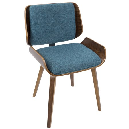 Santi Mid-Century Modern Dining/Accent Chair in Walnut with Turquoise Fabric by LumiSource - Set of 2 ()