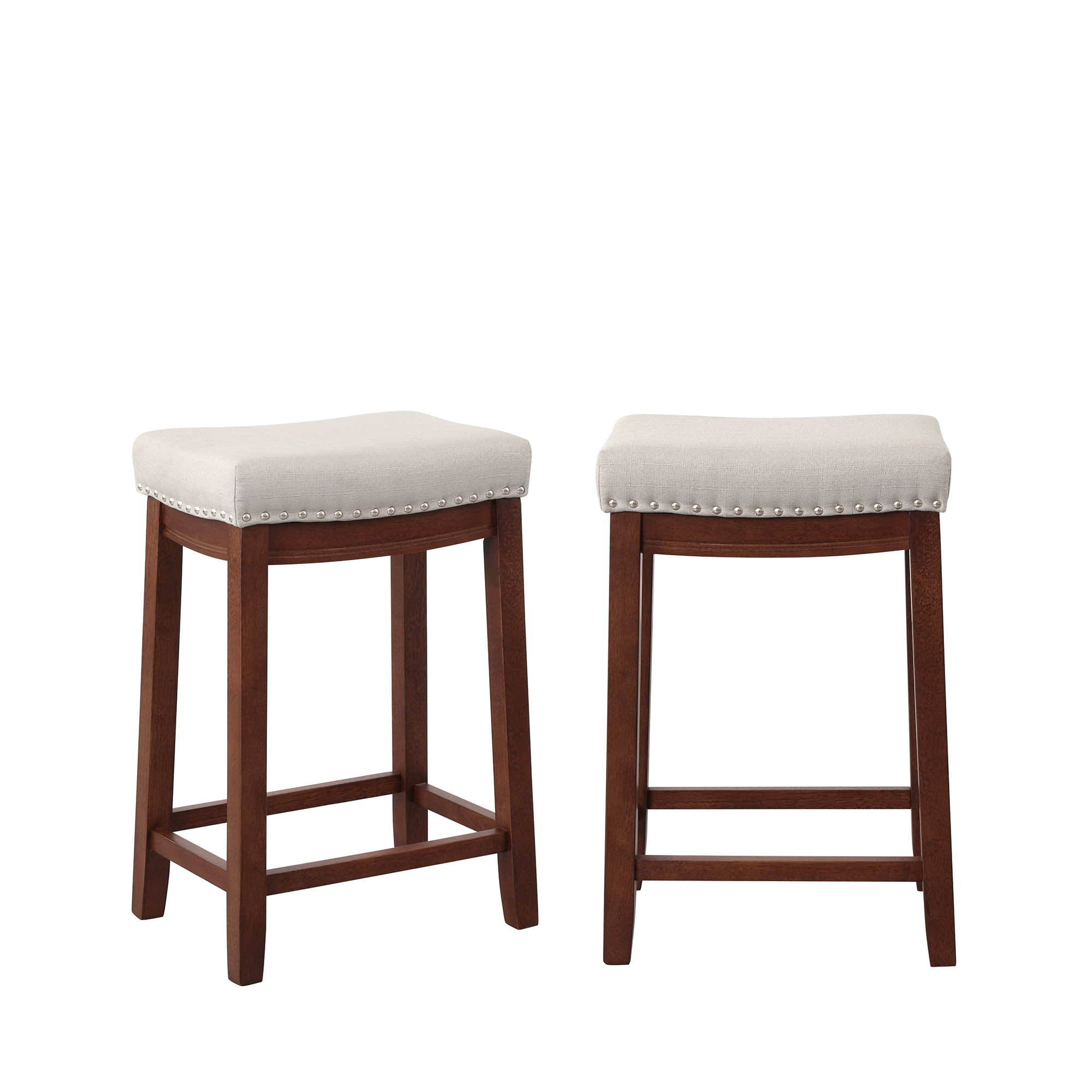 Kitchen Backless Linen Counter Height Stools With Nailhead