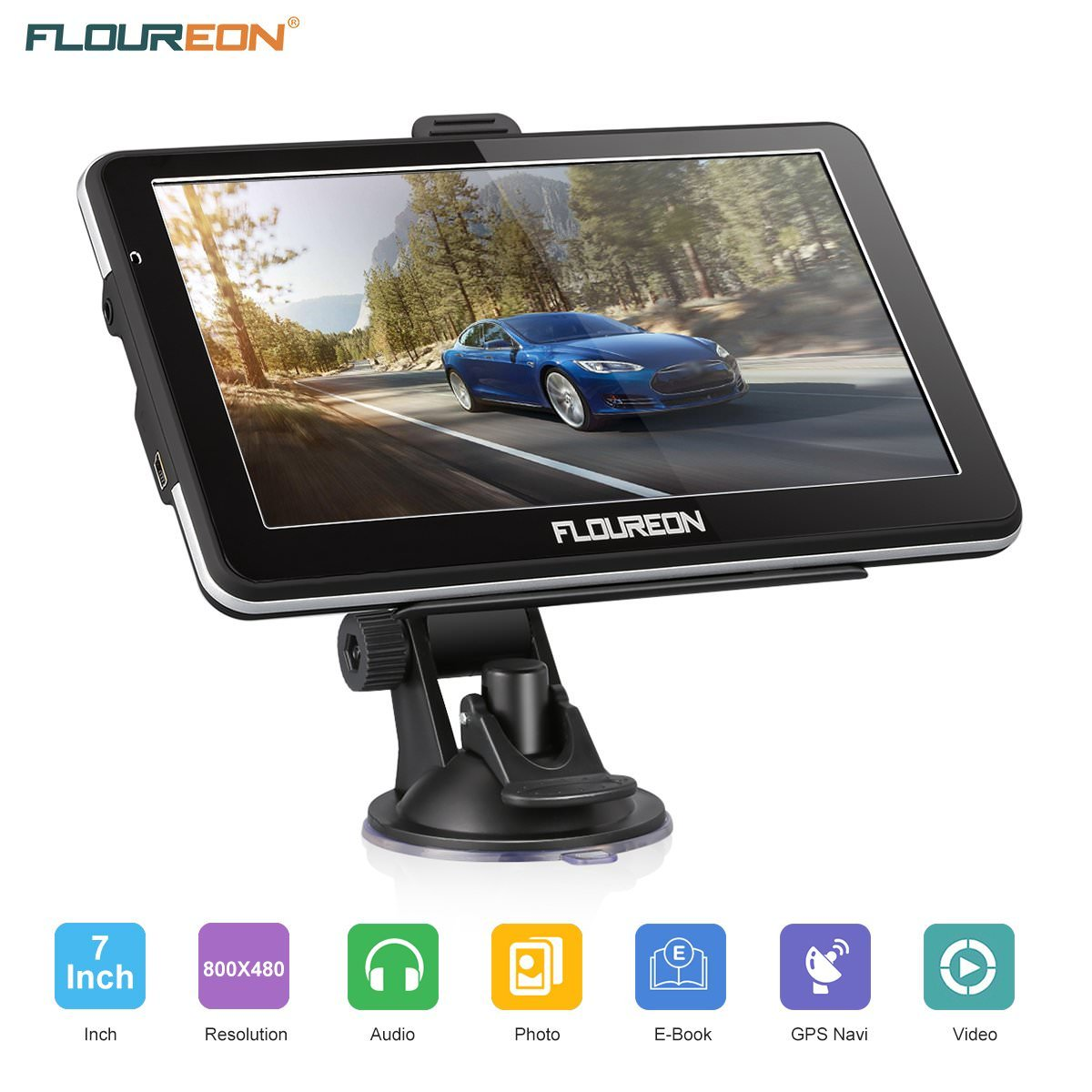 Floureon Portable 7 inch 8GB Capacitive Touchscreen Car GPS Navigation System sat nav with Lifetime Maps