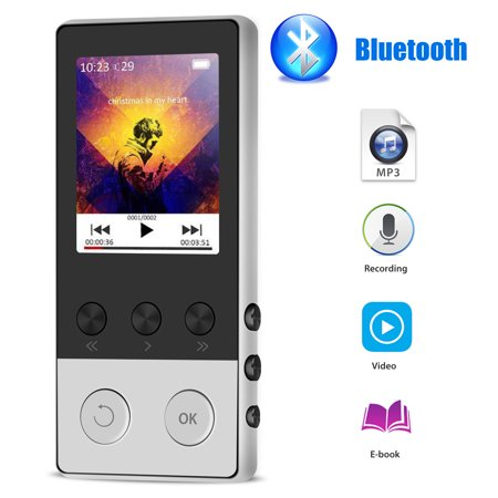 TSV MP3 Player, 8GB MP3 Player with Bluetooth, HiFi Sound Music Player with FM Radio, Voice Recorder, Pedometer, Expandable up to 64GB TF Card