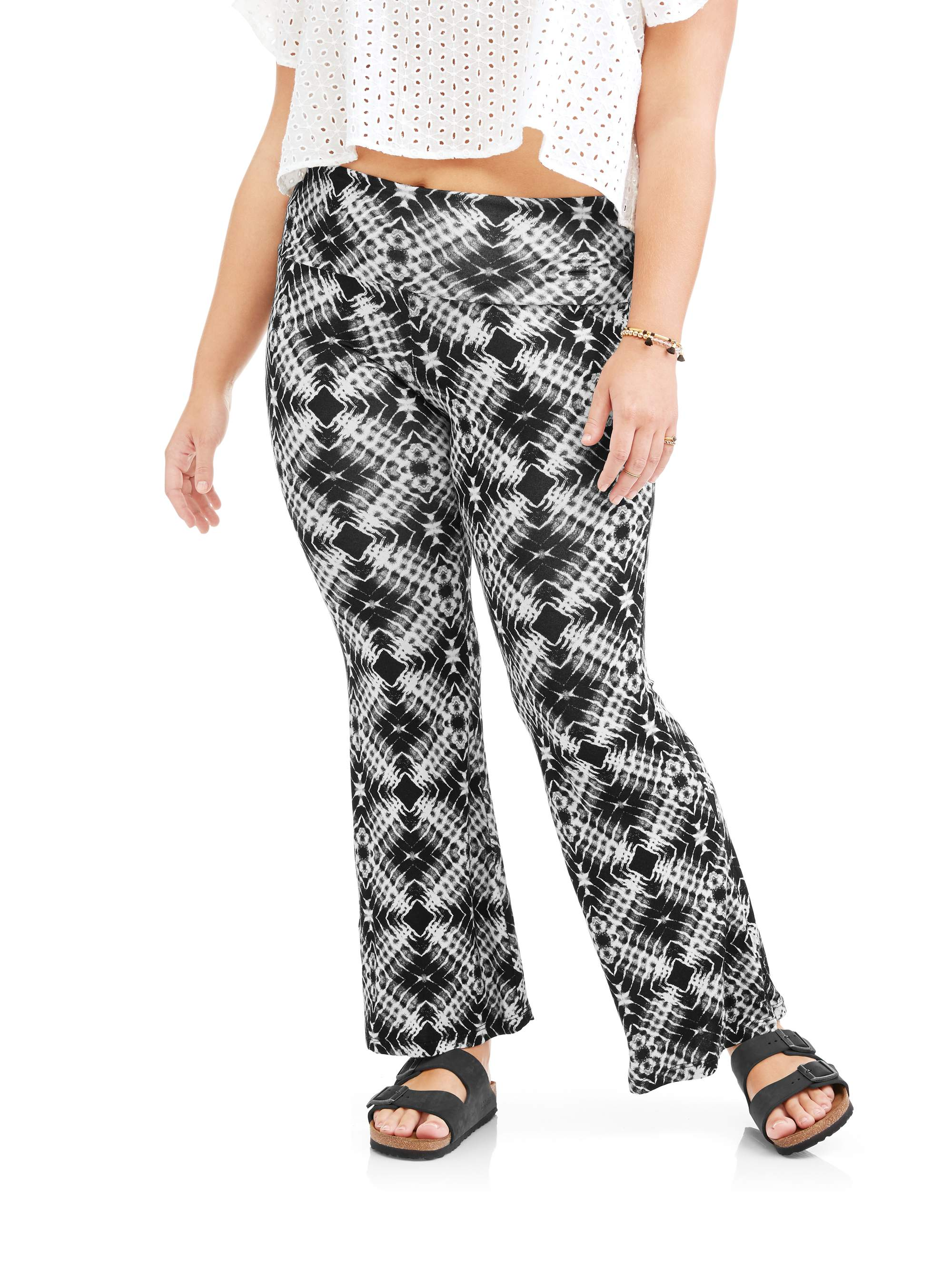 Junior Plus Printed Knit Flare with Foldover Waistband