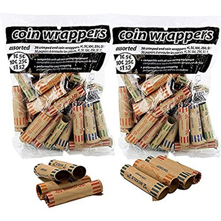 - Coin-Tainer Coin Wrappers Assorted Quarter, Dimes, Nickels, Pennies (72 Count)