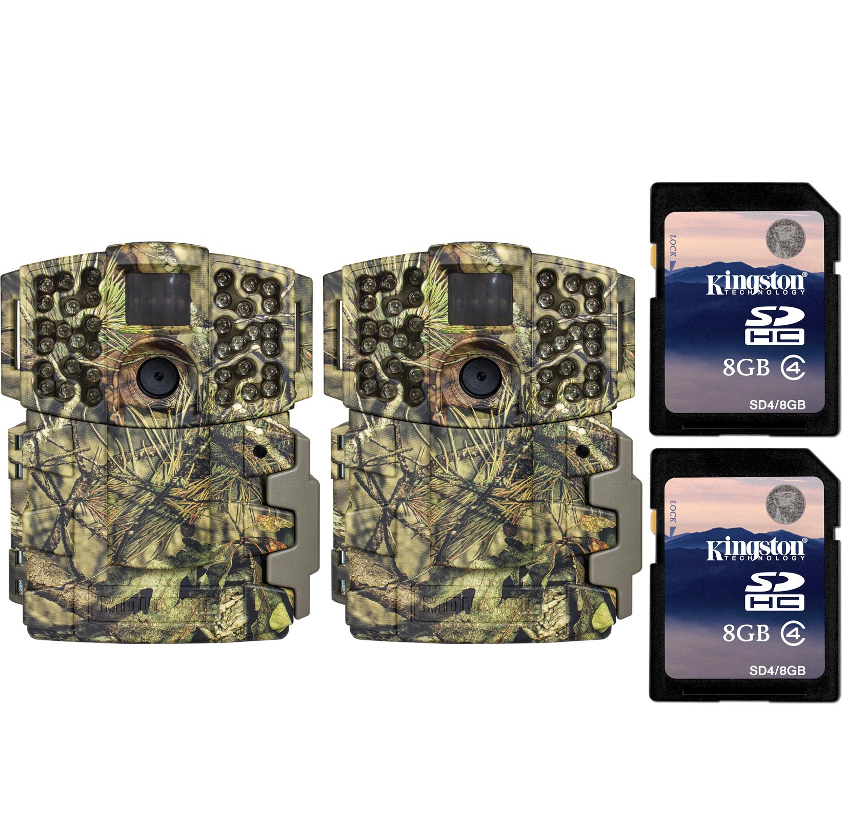 (2) Moultrie No Glow Invisible 20MP Mini 999i IR Trail Game Cameras w  SD Cards by