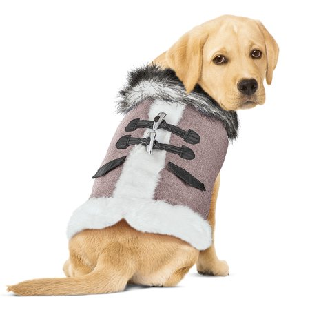 Flannel Lined Dog Winter Coat with Faux Fur Trim and Easy On Closure, (Dog Jacket Coat Fur)