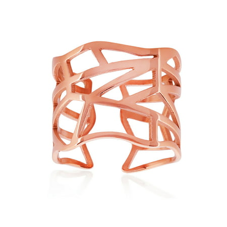 Rose Gold Plated Geometric Stainless Steel Open Ring (16mm)