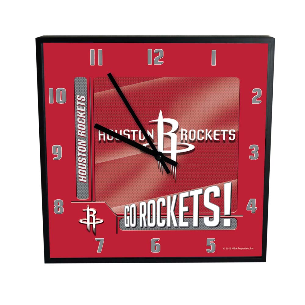Houston Rockets Go Team Square Clock