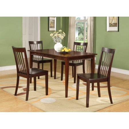"Tanya 5 Piece Kitchen Dinette Dining Set, Cherry Wood, Shaker, 54"" Rectangular, (Table & 4 Slatback Chairs)"