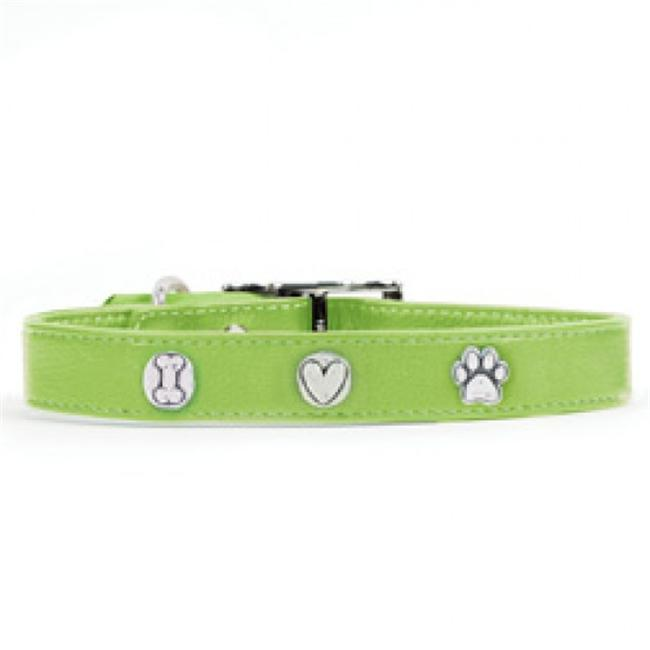 Rockinft Doggie Leather Collar with Bone-Heart-Paw Rivets
