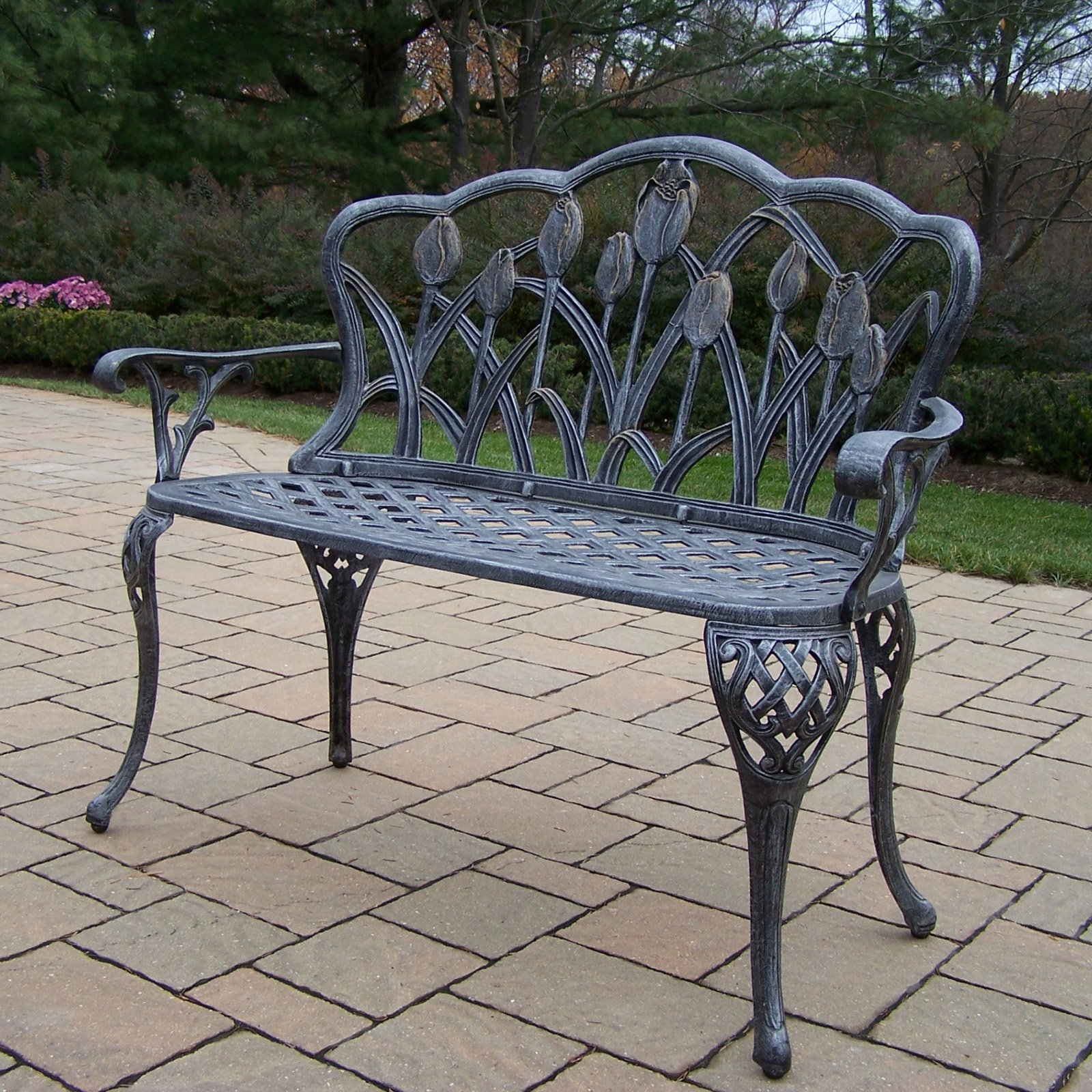 Oakland Living Tulip Cast Aluminum 44 in. Antique Pewter Curved Loveseat Bench