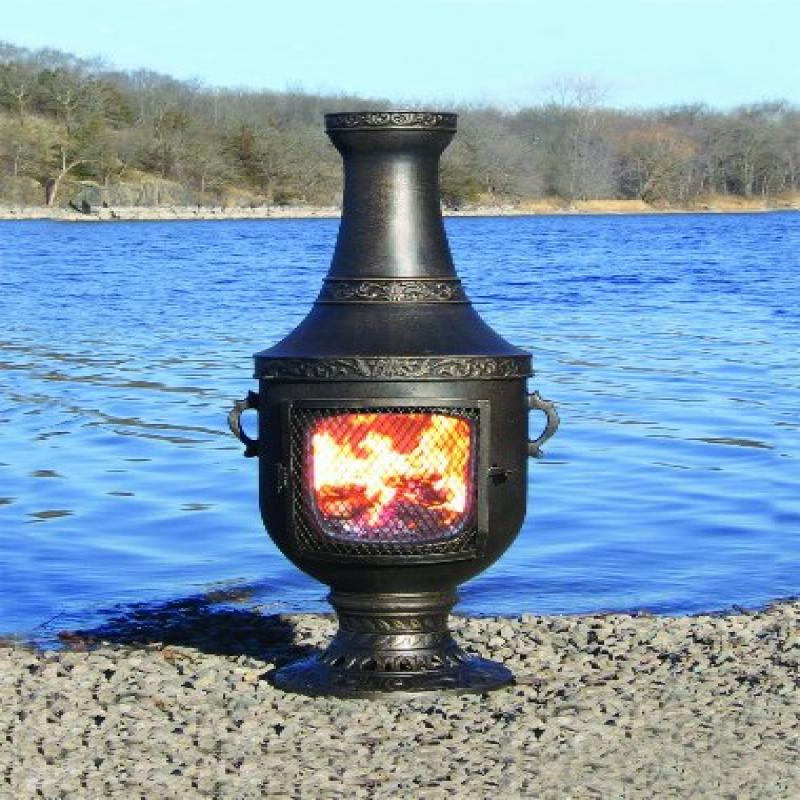 The Blue Rooster Cast Aluminum Venetian Chiminea with Gas in Gold Accent by
