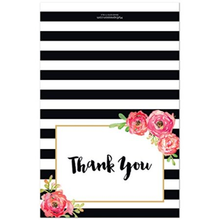 50 Black Stripes Watercolor Floral Thank You Cards - image 3 of 4