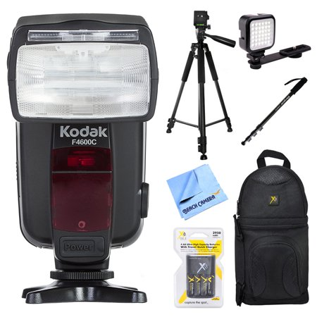Kodak 18-180 Power Zoom Flash w/ Red Eye Reduction for Canon E-TTL Cameras (F4600C) + Accessories Bundle Includes, Deluxe Camera Shoulder Bag, Tripod, Monopod, LED Light & Microfiber Cloth (Kodak Holiday Flash Camera)