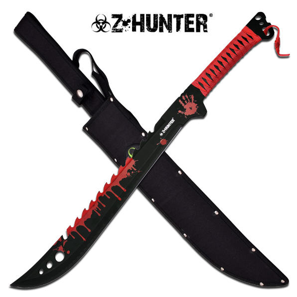 "Master Cutlery ZB-124GN Z-Hunter 25"" Machete Black Paint Green Splat Blade Green Wrapped Handle She"