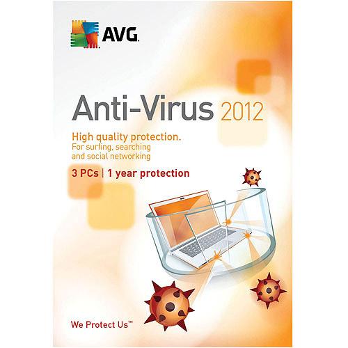 AVG 2012 Anti-Virus 3 Users Old Version CD-ROM Windows 7 / Windows Vista / Windows XP