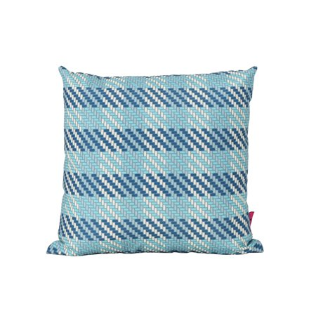Marquis Outdoor Water Resistant Square Pillow, Blue Plaid