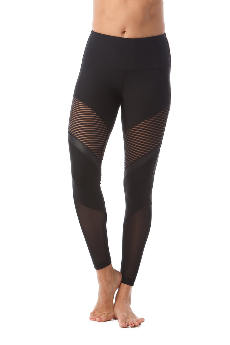 90 Degree By Reflex - Striped Mesh Insert Legging