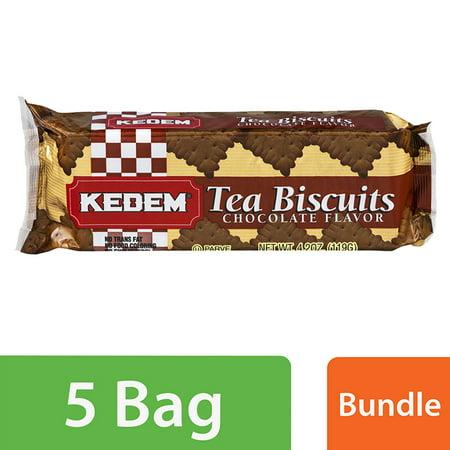 (5 Pack) Kedem Tea Biscuits Chocolate Flavor, 4.2 OZ (Tea Ring Cookies)