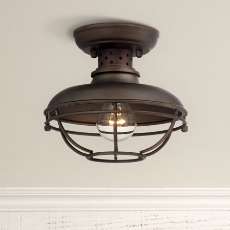 Franklin Iron Works Rustic Outdoor Ceiling Light Fixture Bronze 8 1 2 Caged For Exterior Entryway Porch