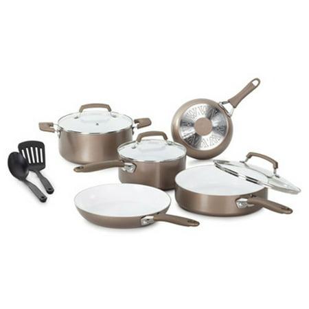 Pure Living Cookware Set, Ceramic Interior, 10 Pc., T-Fal, C944SA64 ()