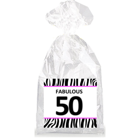 Fabulous 50th Birthday Zebra Pattern  Party Favor Bags with Ties - 12pack - Birthday Pattern
