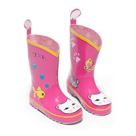 Kidorable Girls Pink Lucky Cat Print Lined Rubber Rain Boots 11-2 Kids - Kidorable Pink Cat