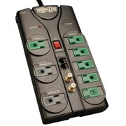 Tripp Lite ECO-SURGE AV88SATG Energy-Saving Surge Suppressor with 8 Outlets, Telephone/Network Line and Coaxial Line Protection, 8'