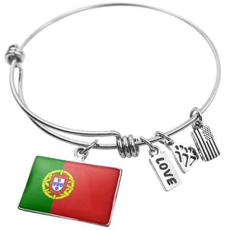 Expandable Wire Bangle Bracelet Portugal Flag (Silver Portuguese Jewelry)