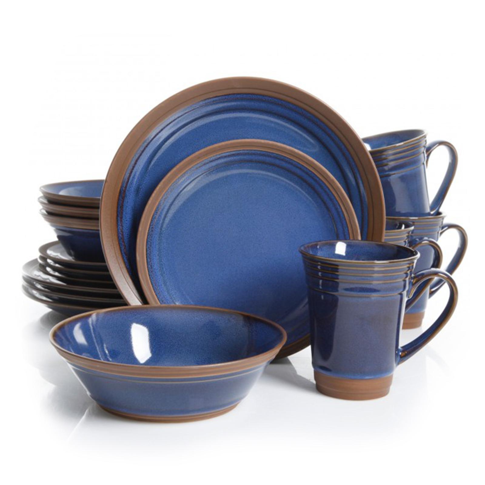 Gibson Elite Brynn 16 Piece Stoneware Dinnerware Set in Blue