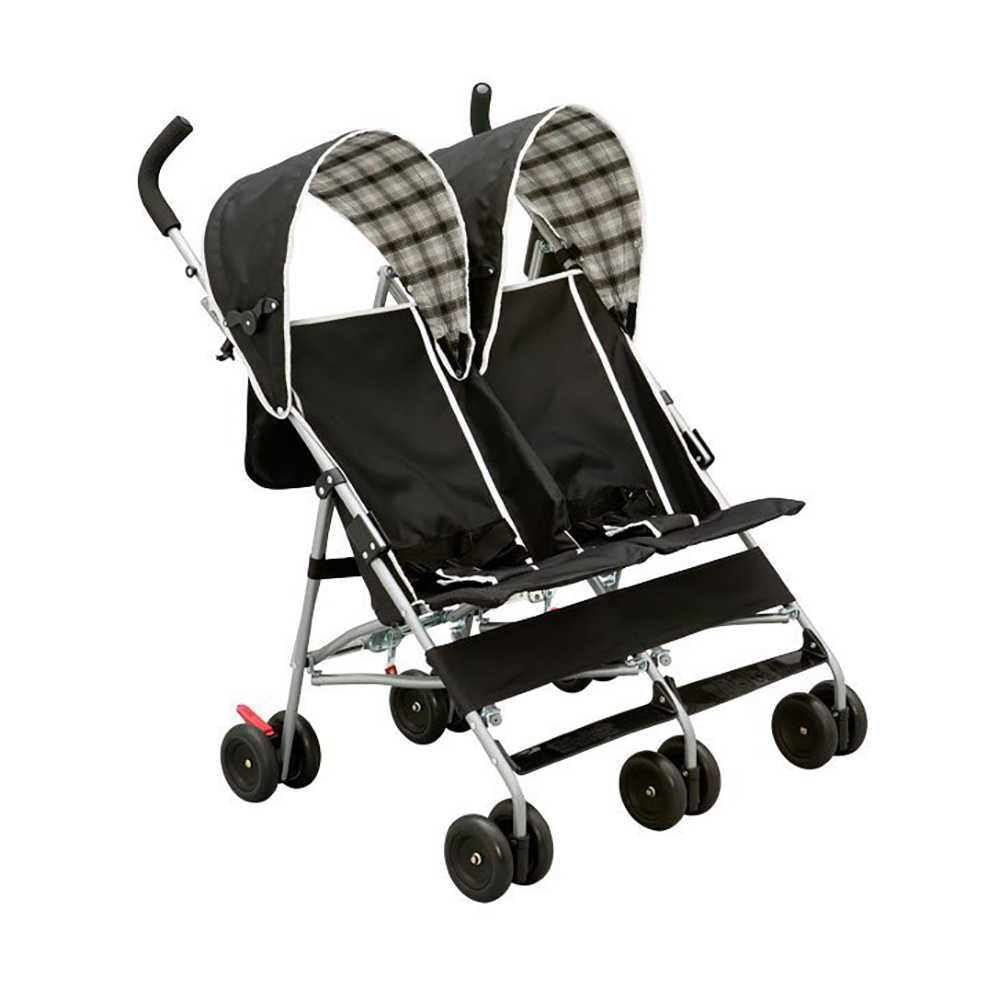 Delta Children DX Side by Side Folding Double Umbrella Stroller, Black Plaid by Delta Children
