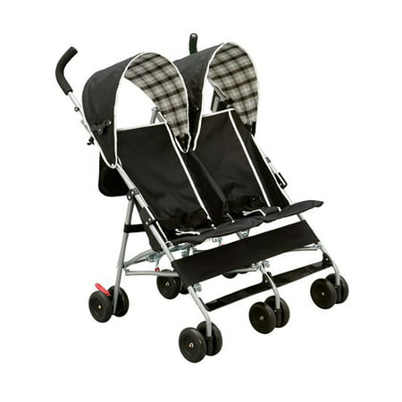 Delta Children's Products DX Double Side by Side Umbrella Stroller, Black and White Plaid