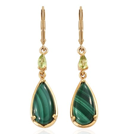 Womens Brown Ion Plated - Mix Metal ION Plated Pear Malachite Peridot Dangle Drop Earrings Gift Jewelry for Women