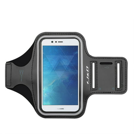 Nova Key - Nova 2 Armband, J&D Sports Armband for Huawei Nova 2, Key holder Slot, Perfect Earphone Connection while Workout Running - [Not for Huawei Nova 2 Plus] – Black