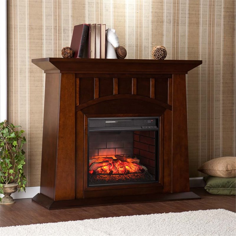 Southern Enterprises Lowery Infrared Electric Fireplace in Espresso