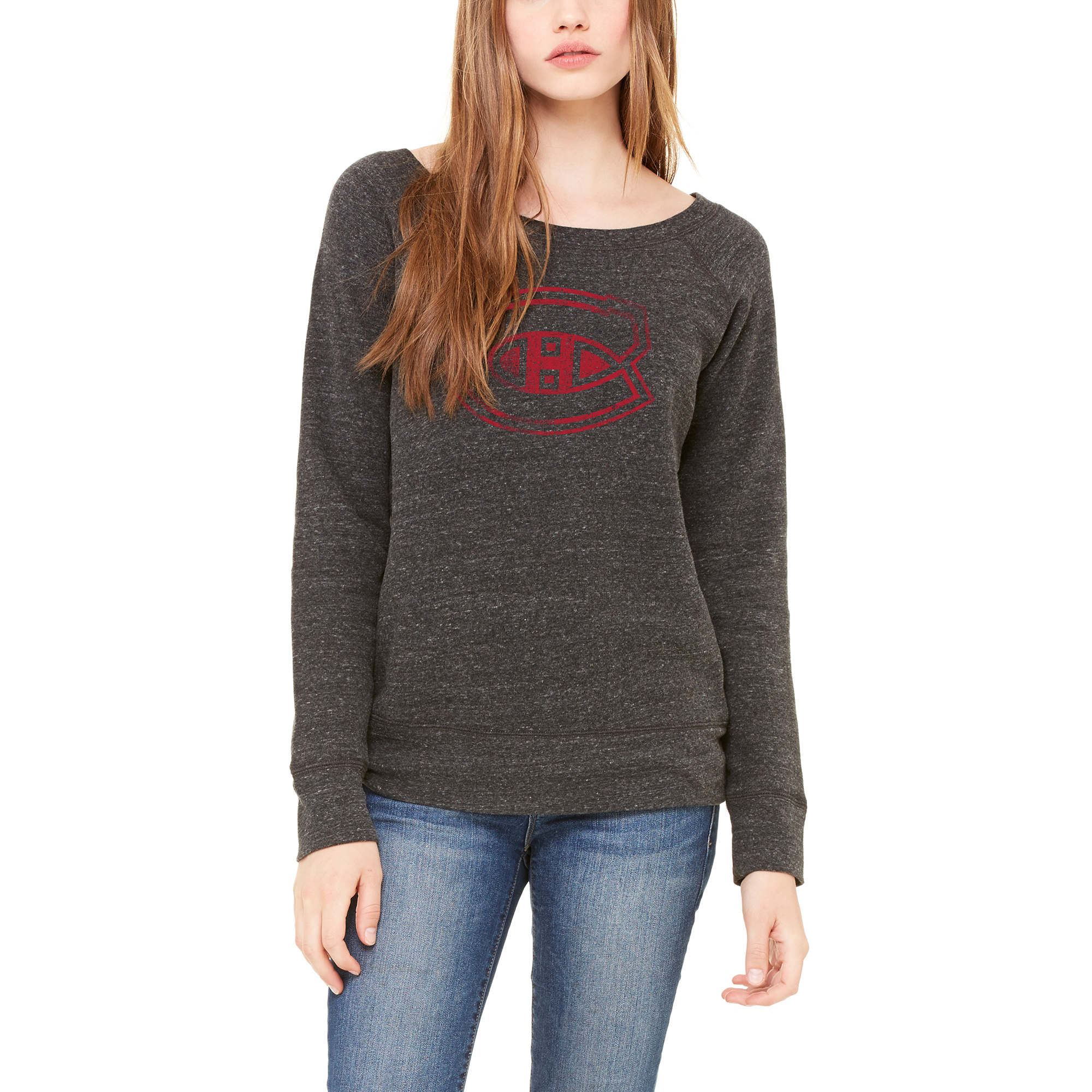 Montreal Canadiens Let Loose by RNL Women's Game Day Wide Neck Pullover Sweatshirt - Heathered Charcoal