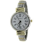 women two tone stretch band easy to read medium size watch