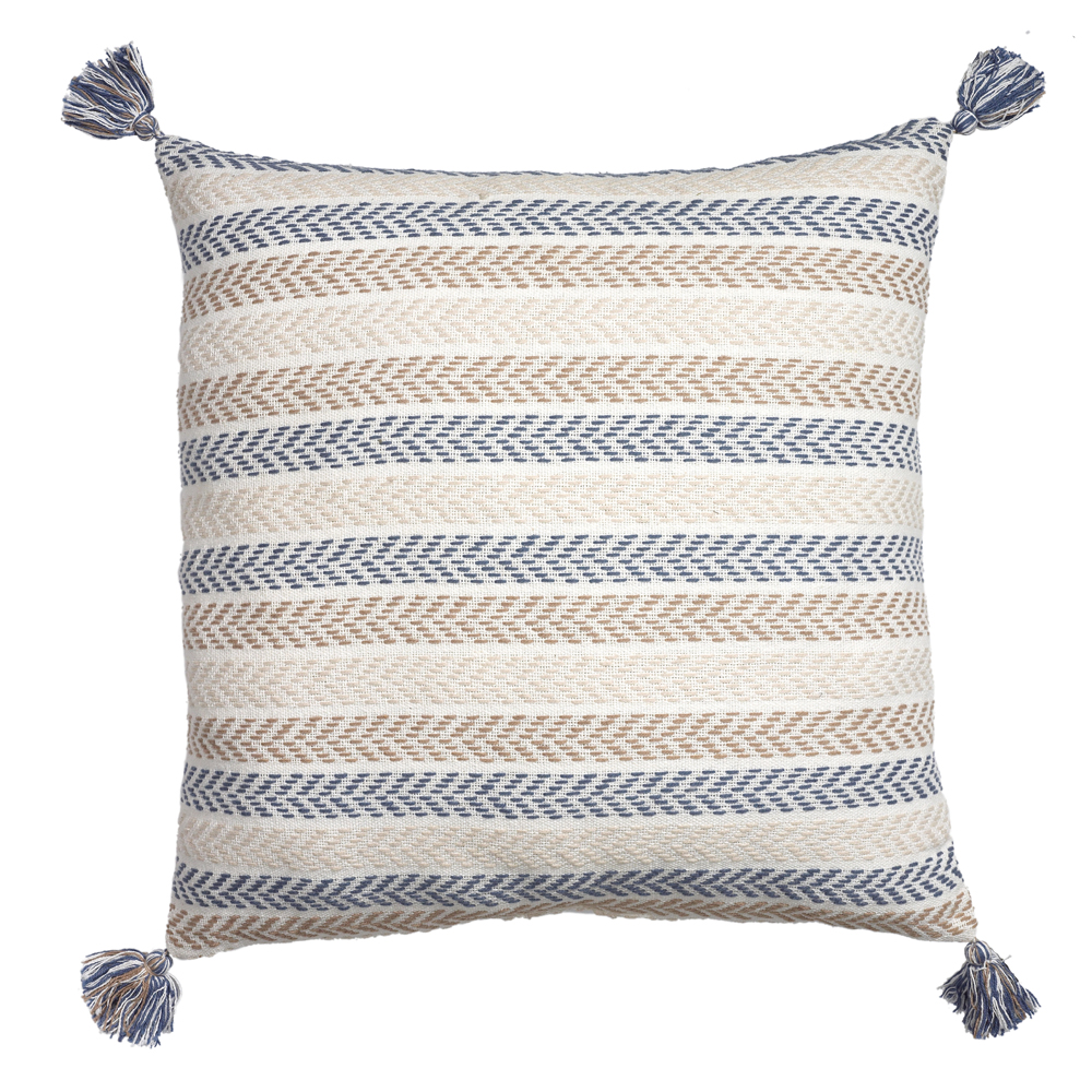 "LR Home Tassel Chevron Striped Green / Gray 18"" x 18"" Indoor Square Hand - Crafted Altair Decorative Throw Pillow"