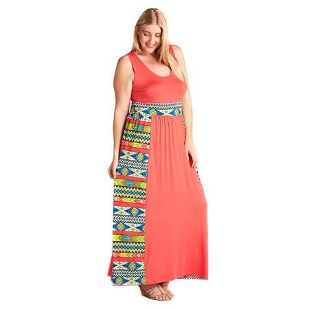 Plus Size Tribal Dress (Colorful Coral Tribal Aztec Plus Size Summer Maxi Dress U.S.A -)
