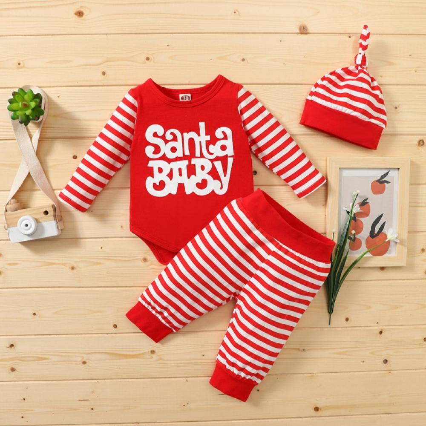 Details about  /Infant Newborn Baby Girl Boy Christmas Clothes Jumpsuit Romper+Pants Outfits Set