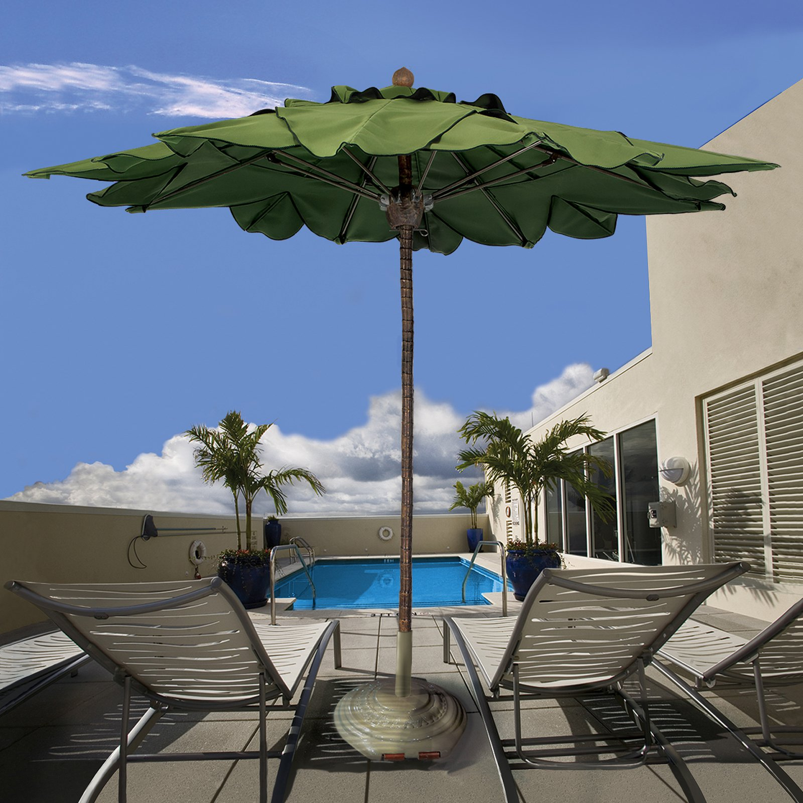 Fiberbuilt 9-ft. Palm Tree Fiber Teak Market Umbrella