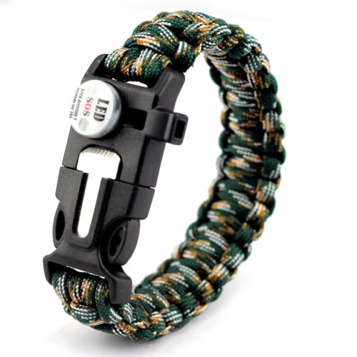 LED Light Outdoor Survival Camo Paracord Bracelet Flint Fire Starter Compass New (Black) by Discount Trends, LLC