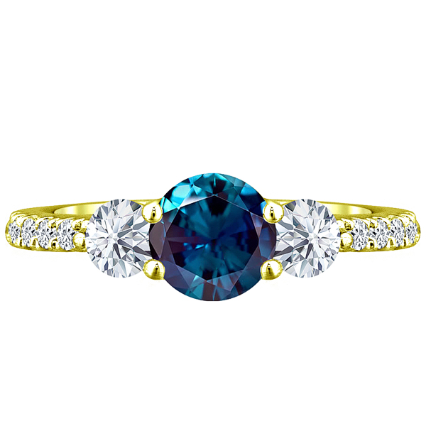 2.60 tcw Round cr Alexandrite & Diamond 3 Stone Ladies Lucida Ring 10k Yellow Gold