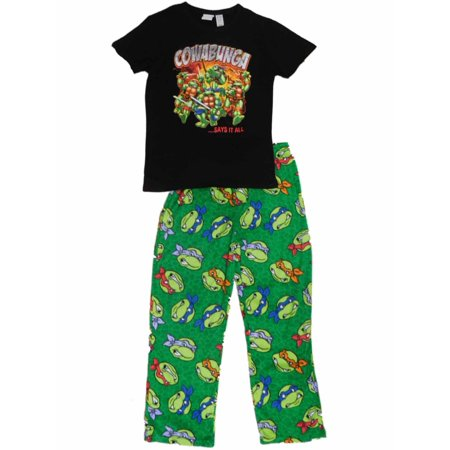 TMNT Mens Teenage Mutant Ninja Turtles 2 Piece Sleep Set Cowabunga Pajamas (Tmnt Onesie For Men)