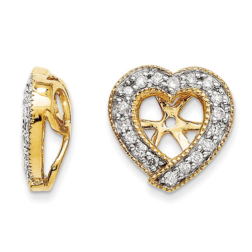 SuperJeweler 14K Yellow Gold Diamond Heart Earring Jacket...
