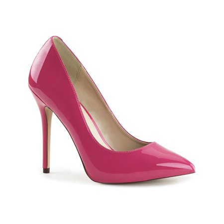 Womens Hot Pink Pumps Patent Stilettos Classic Pointed Toe Shoes 5 Inch Heels