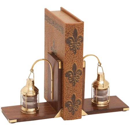 Decmode Wood and Brass Bookend Pair, Multi Color Jade Glass Bookends
