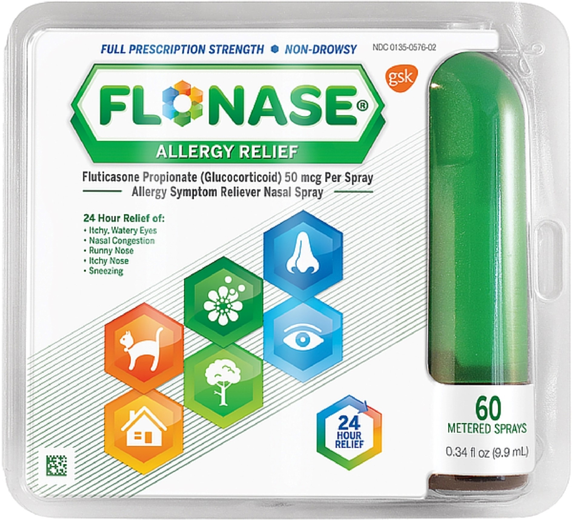 Flonase Allergy Relief Nasal Spray 60 Metered Sprays (Pack of 6)