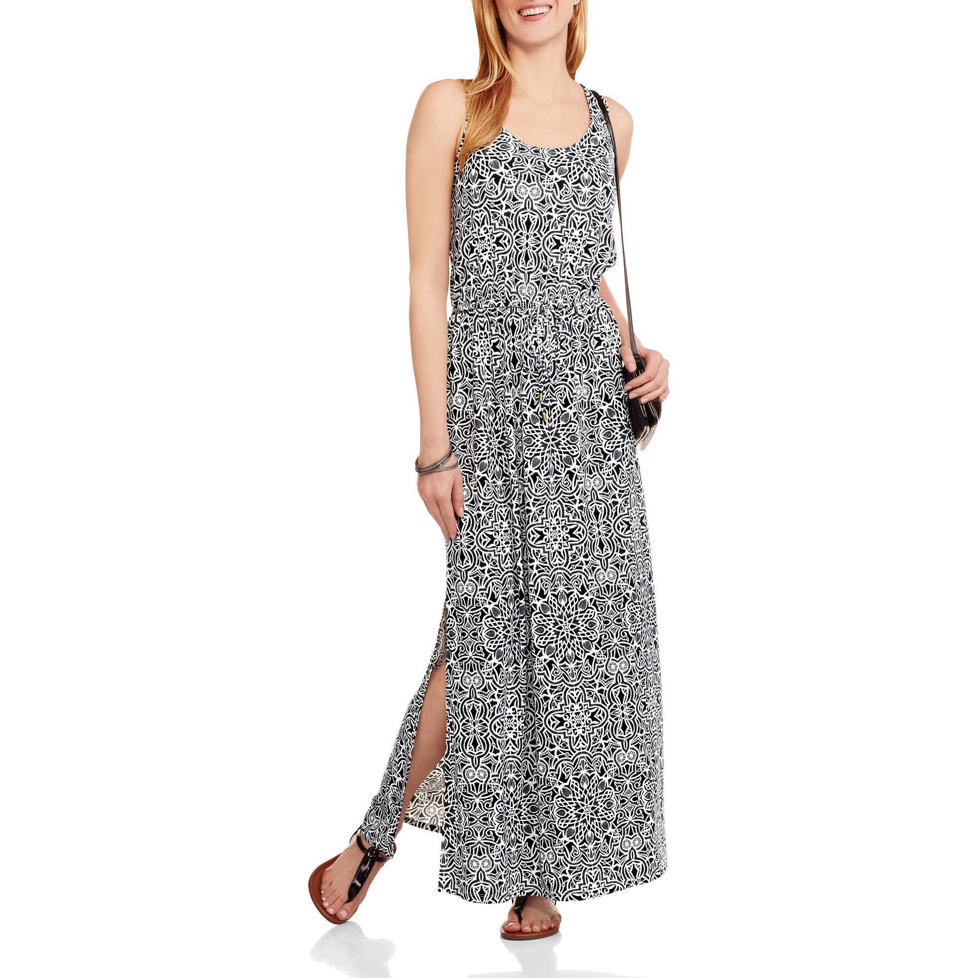 Faded Glory Women's Scoop Neck Waist Tie Maxi Dress with Side Slits